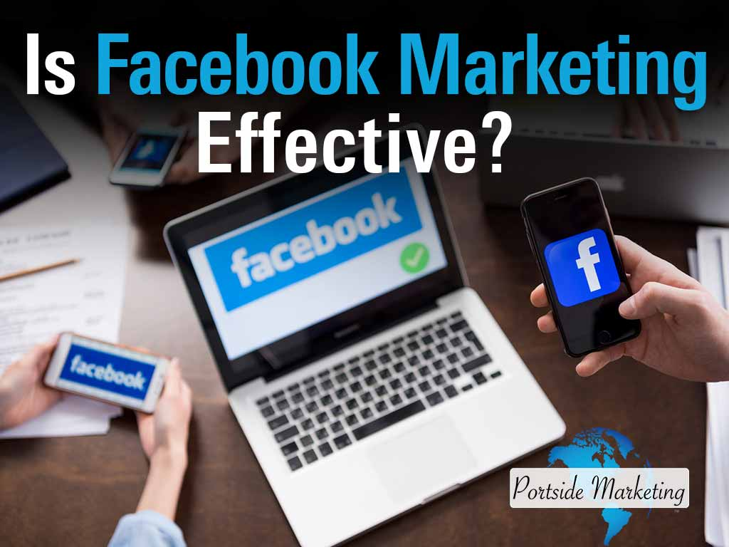 Business owner using Facebook Marketing on multiple devices