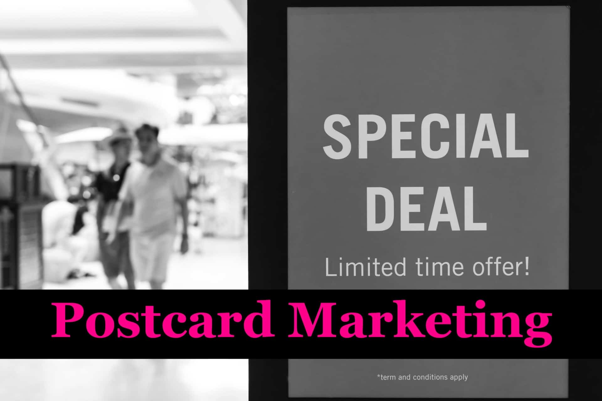 A postcard marketing a special deal
