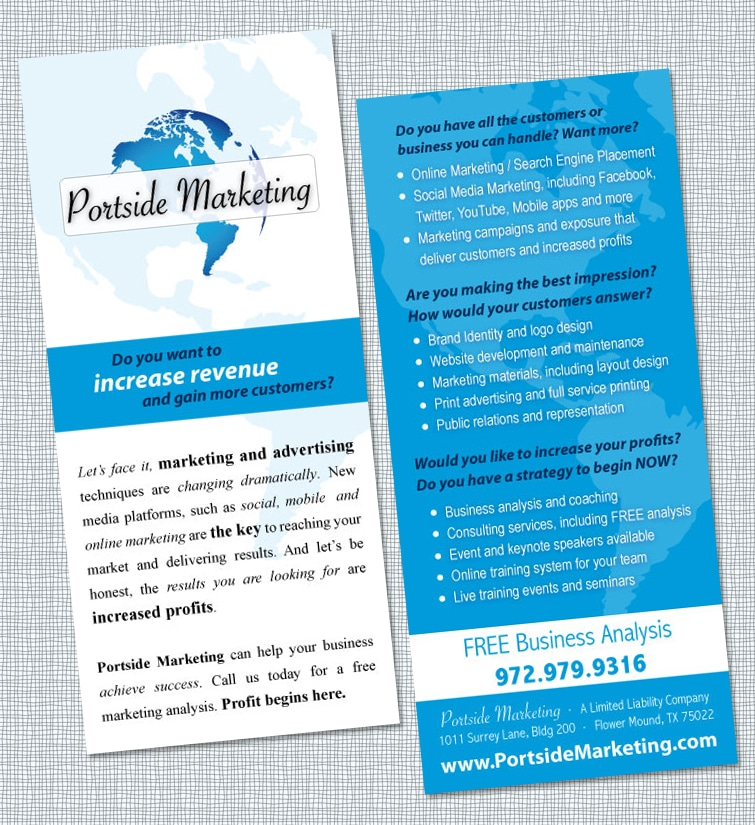 Rack Card Design for Portside Marketing
