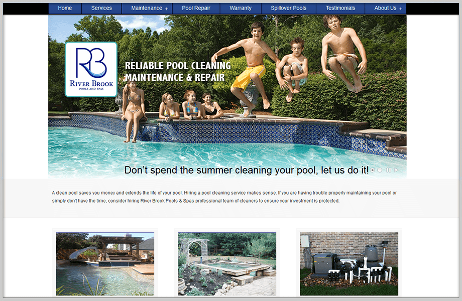 Riverbrook Pools Website Design for Business