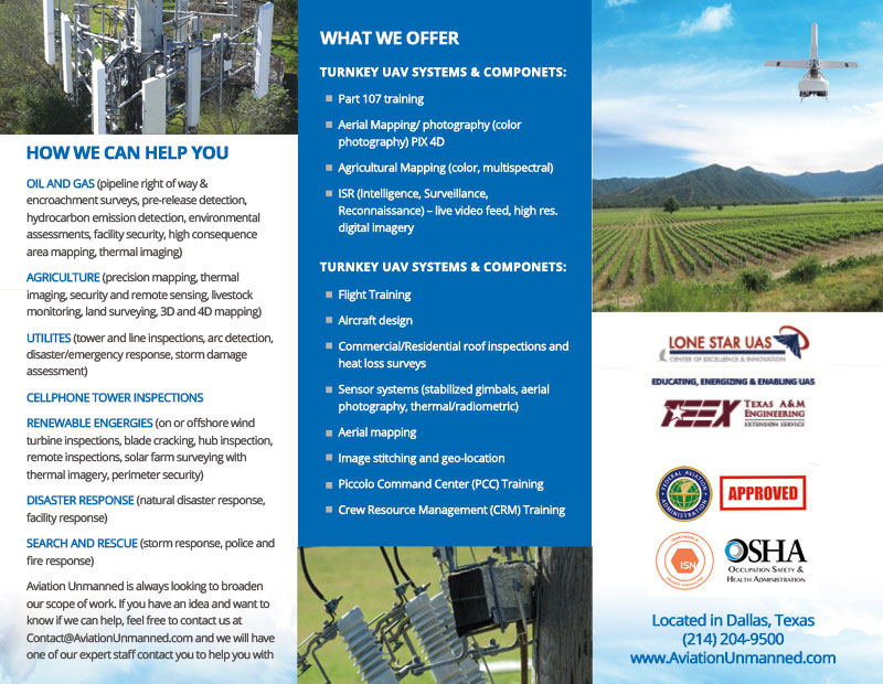 Brochure Design & Printing for Aviation Unmanned