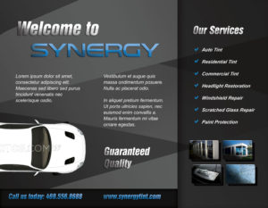 Brochure Design & Printing for Synergy Tint - Lewisville Texas