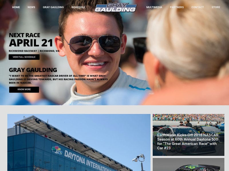 Gray Gaulding Nascar Cup Driver Website Design