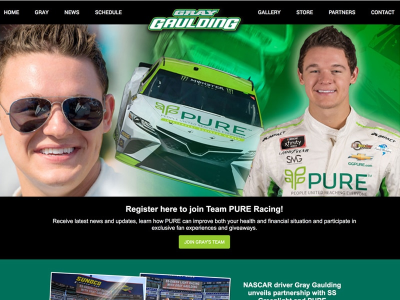 NASCAR driver websites - Gray Gaulding