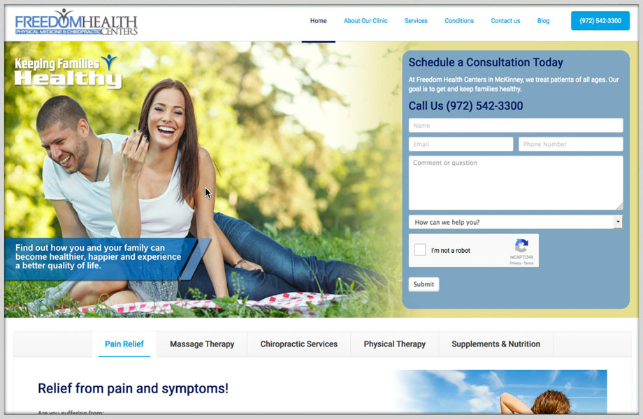 Website Design Portfolio - Freedom Health Centers